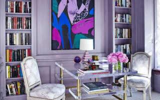 Белая мебель сиреневые стены