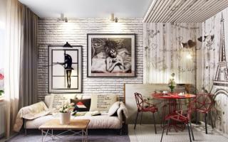 Интерьеры комнат с элементами кирпича