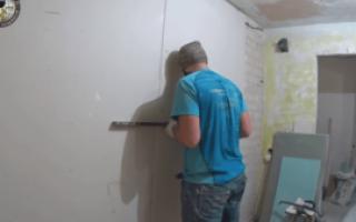 Как приклеить гипсокартон на стену