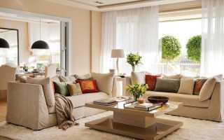 Бежевый цвет стен в гостиной фото